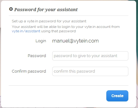 vyte_in_Password_to_your_assistant_settings