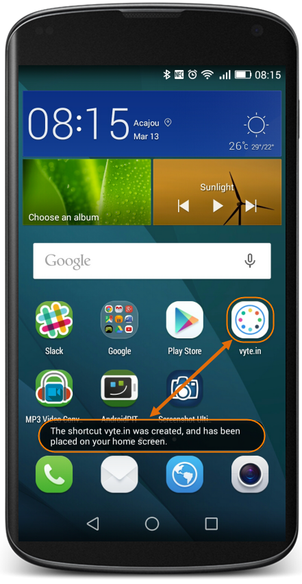 vyte-in-android-homescreen