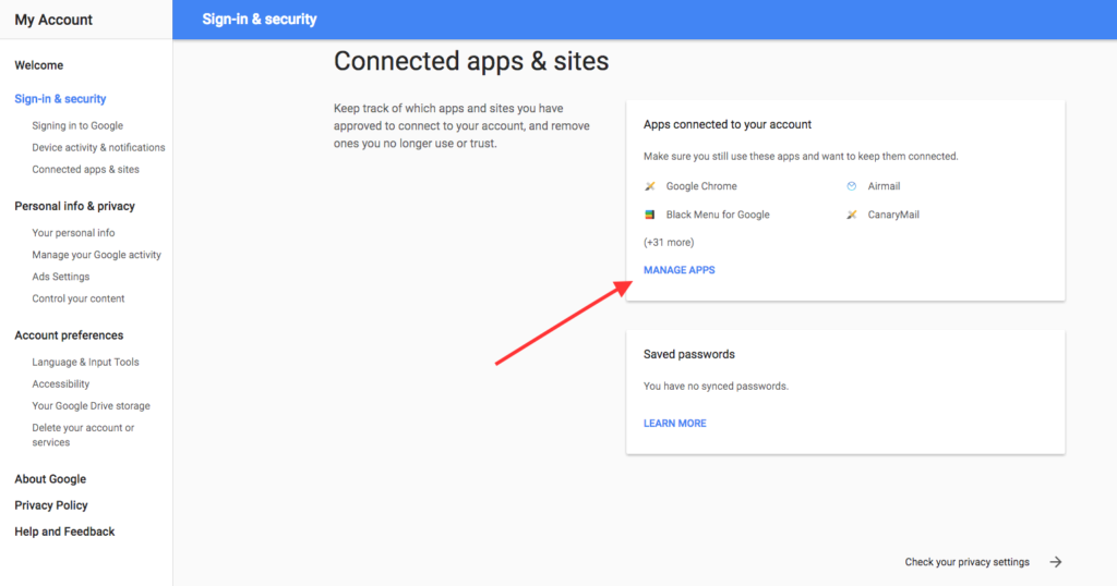 On this page you can remove access to your Google account